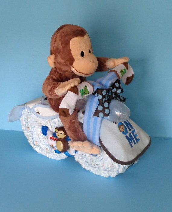Monkey Themed Motorcycle - Monkey Diaper Cake - Diaper Motorcycle