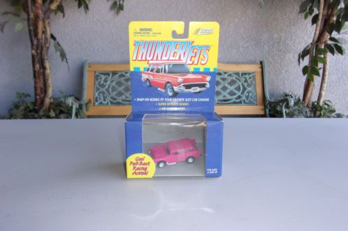 Thunder Jets Johnny Lightning Slot Car 57 Chevy Nomad Pink Vintage Racing