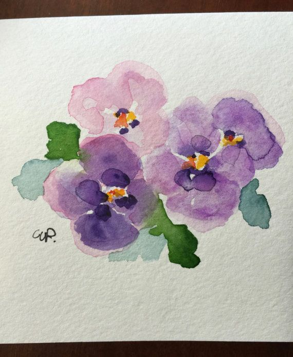 Purple Pansies Watercolor Card / Hand Painted Watercolor Card  Little Purple Pansies, hoping for Spring. My flowers are just beginning to sprout.