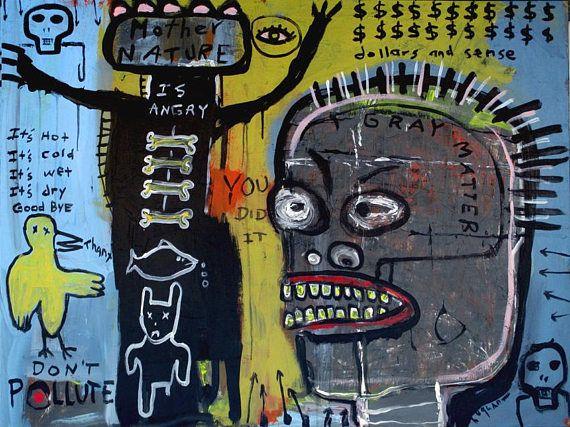 original 30 x 40 inch Jeff Hughart abstract outsider art