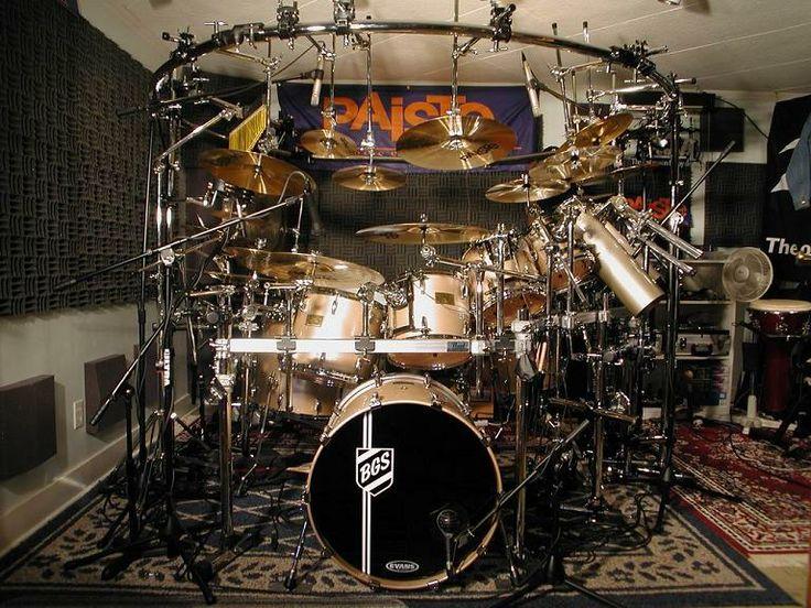Studio setup for huge Pearl drum kit drumset, with microphones. -DdO:) > http://www.pinterest.com/DianaDeeOsborne/drums-drumming-joy - Pin of Court Heckman
