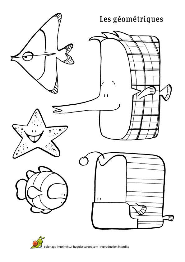 Coloriage poisson avril geometriques sur Hugolescargot.com - Hugolescargot.com