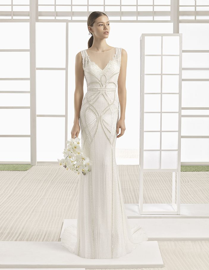 Wiken - Silk chiffon column dress with beaded embroidery, in ivory.