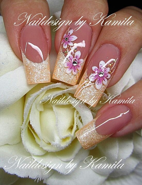 Cream French with hand painted flowers