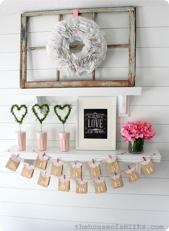 Simple Fresh Valentines Shelf Decor 2013 Valentine Pinterest Shelves Valentines And Simple