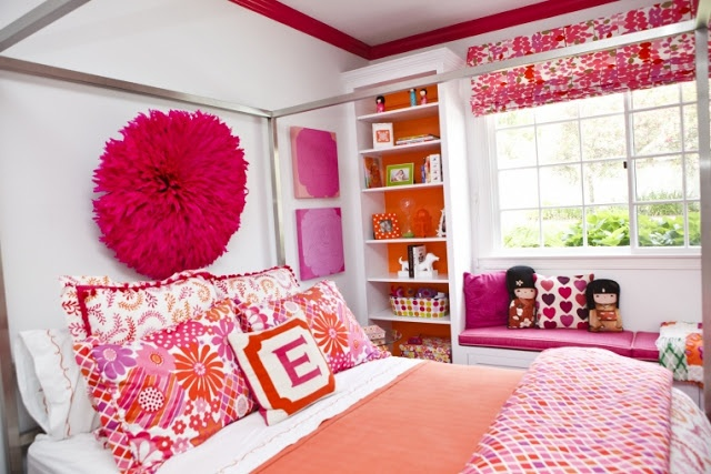 Driven By Décor: Pink and Orange for a Girls Bedroom