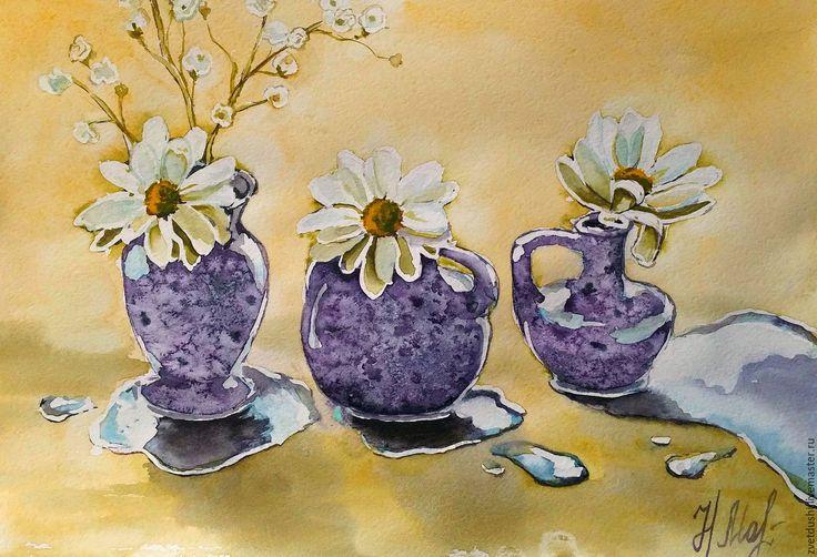 """Купить Акварель """"И снова ромашки"""" - тёмно-фиолетовый, акварель, акварельный рисунок, ромашки"""