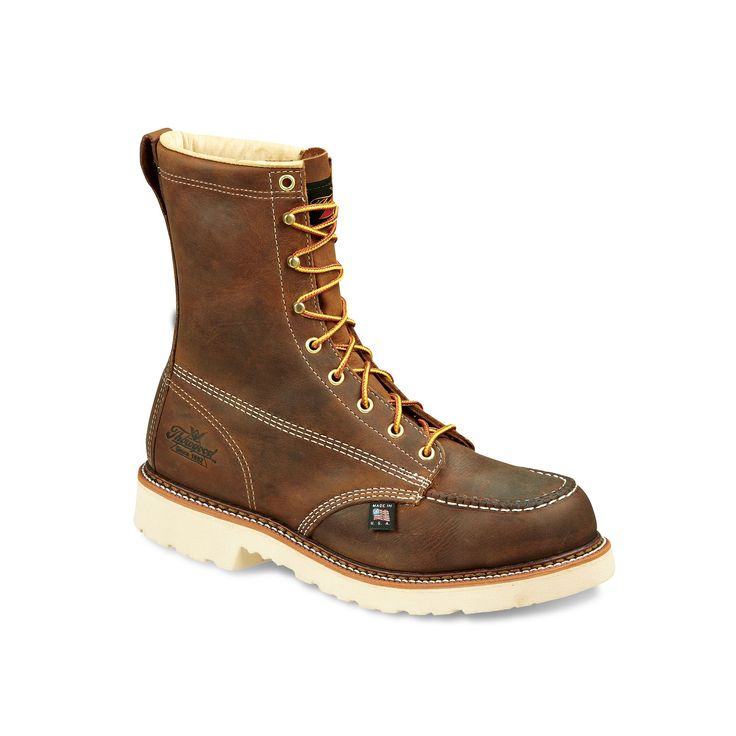 Thorogood American Heritage Classics Men's Mid-Calf Safety-Toe Work Boots, Size: 8 W 2E, Brown, Durable