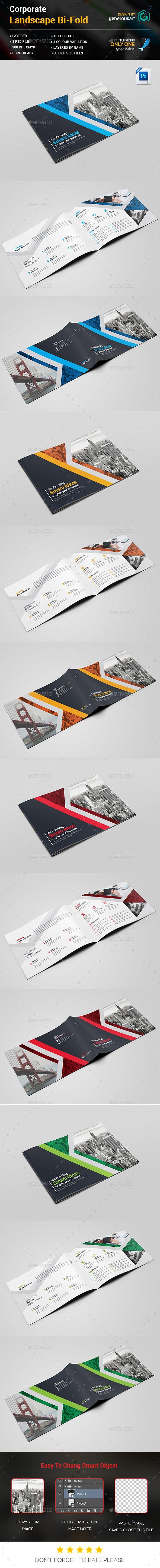 Landscape Bi-Fold Brochure Template PSD