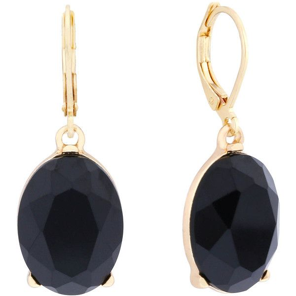 Monet Black Stone Gold-Tone Drop Earrings ($16) ❤ liked on Polyvore featuring jewelry, earrings, stone jewelry, monet earrings, gold tone jewelry, stone earrings and monet jewellery