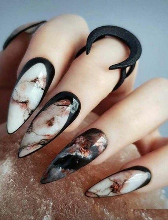 uñas de mármol uñas de halloween diseños de uñas geniales