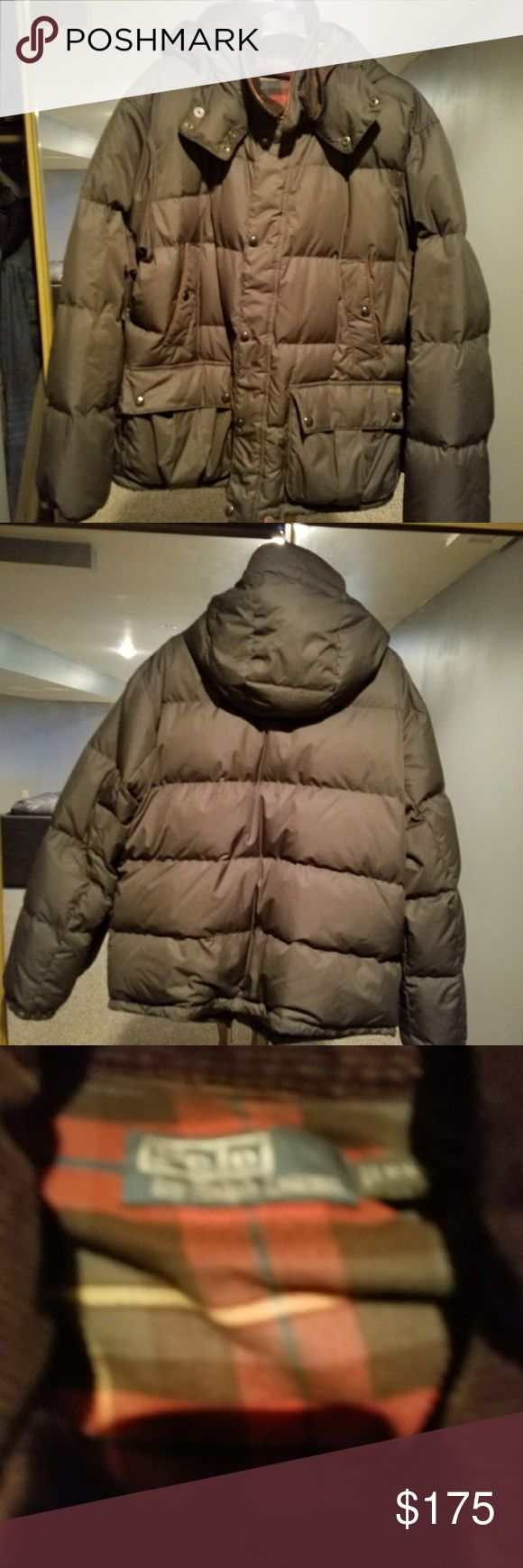 Authentic Polo men's puffer coat Authentic men's puffer coat with hood corduroy around the neck green and plaid in the inside barely worn Polo Jackets & Coats Puffers