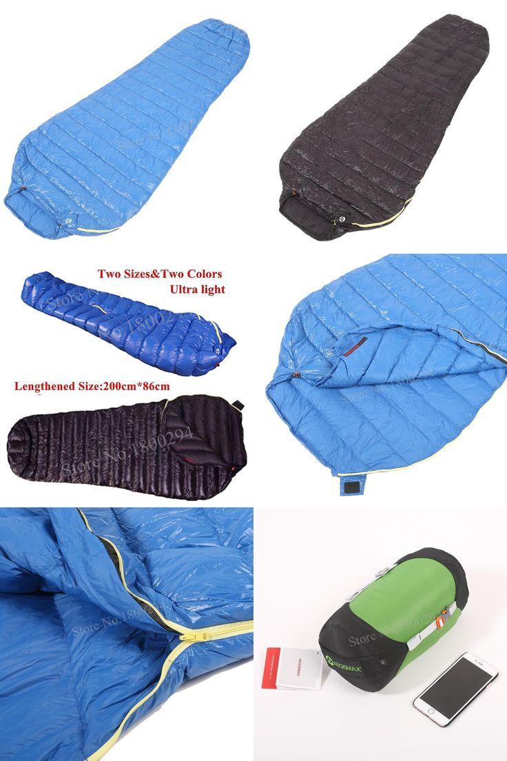 [Visit to Buy] Aegismax M2 Lengthened Blue Wing Mummy Sleeping Bag Ultralight White Goose Down Outdoor Camping Hiking Saco de dormir 200cm*86cm #Advertisement