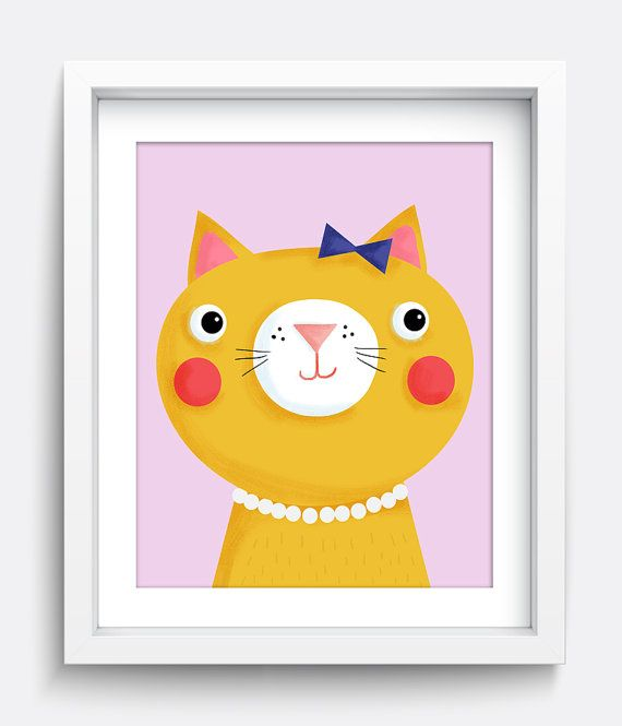 Cat Print, Cat Art print, Kitten Art, Kitten print, Cat Printable, Girls Room Decor, Babys Room, Digital Print, Kids Art Print