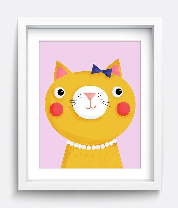 Cat Print, Cat Art print, Kitten Art, Kitten print, Cat Printable, Girls Room Decor, Babys Room, Digital Print, Kids Art Print