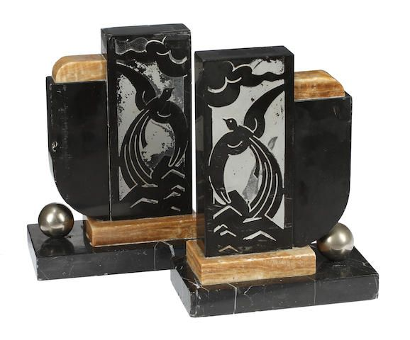 A pair of marble and slate Art Deco bookends