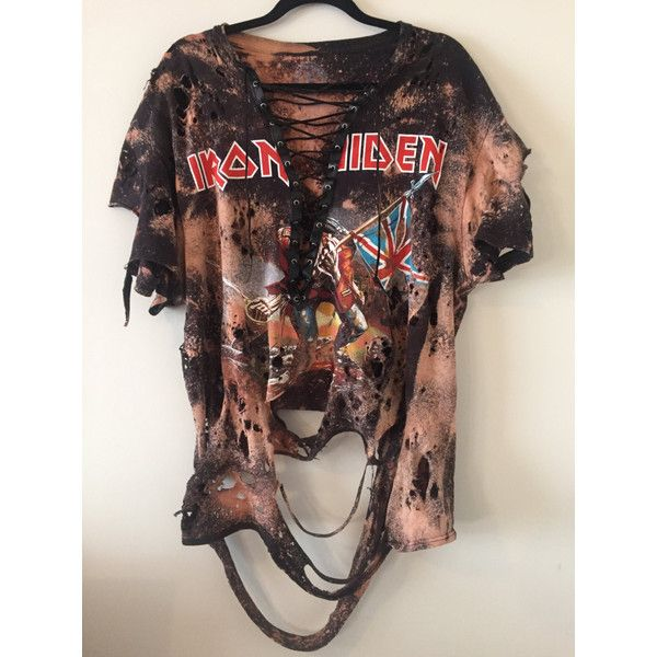 IRON MAIDEN lace up distressed TSHIRT ($55) ❤ liked on Polyvore featuring tops, t-shirts, distressed shirt, british flag t shirt, t shirt, union jack shirts and stretch t shirt