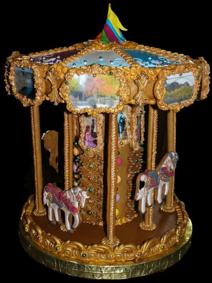 Lynne Schuyler created this gingerbread carousel. Her day job? Mechanical design for a commercial refrigeration company in Kimberly, Idaho.