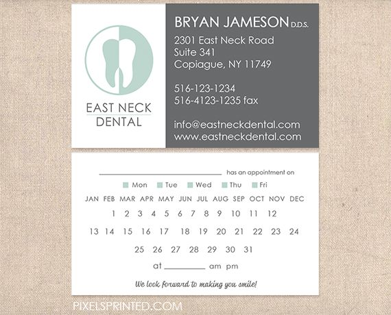 8 best images about dental business cards/appointment cards on ...