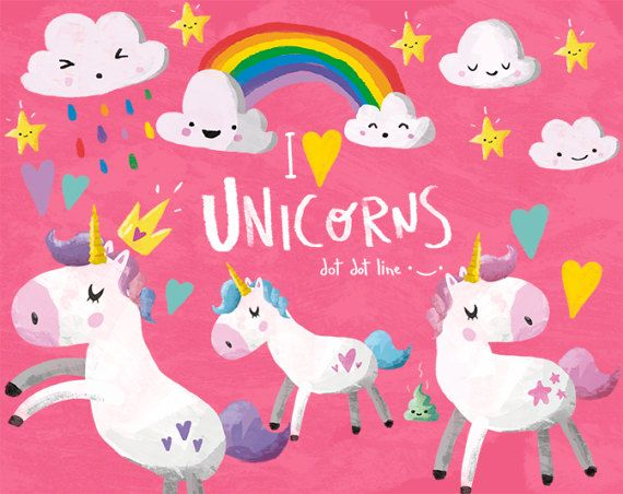 Unicorn Clipart Set INSTANT DOWNLOAD Unicorn graphics