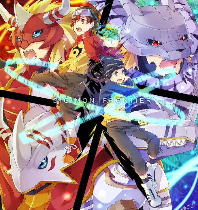 Digimon Frontier Takuya, Agunimon, BurningGreymon, Koji, Lobomon, KendoGarurumon