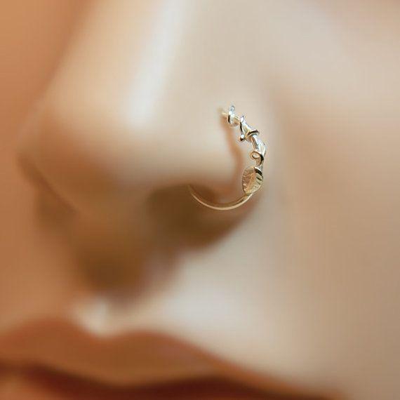 Nose Ring Leaf floral motif Customize Sterling by PicoNosePiercing // 18 gauge and 10mm left nostril.