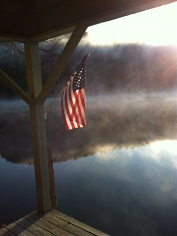 Old Glory        Description:     Cool fall morning on Fairfield Lake