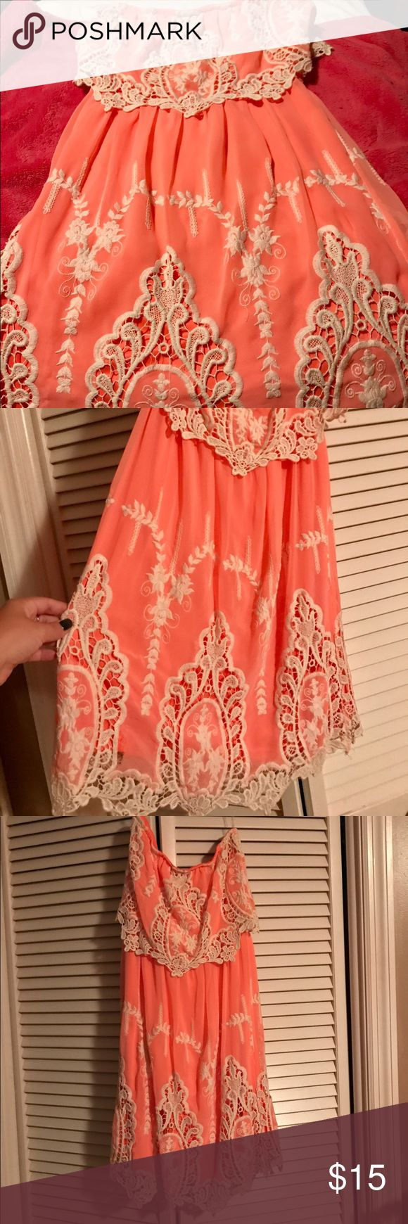 Strapless Coral Lace Dress Brand is Hot and Delicious. Worn once for a wedding. Color is bright coral with cream Lace trim. hot and delicious Dresses Mini