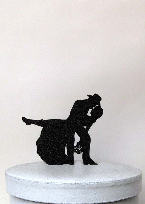 Country & Western Wedding Cake topper made of 1/8 black ABS plastic with non reflecting pebbled surface on the front and smooth back.  ABS