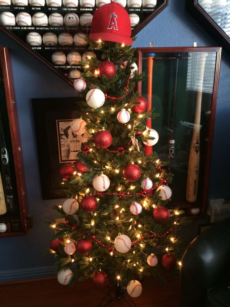 Baseball Christmas Tree for Hubby's Man Cave