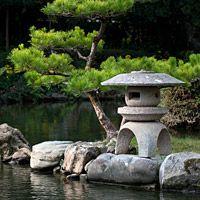 Japan - Stone Lantern and Matsu Pine at Tensha-en Garden in Uwajima, By Photo Japan