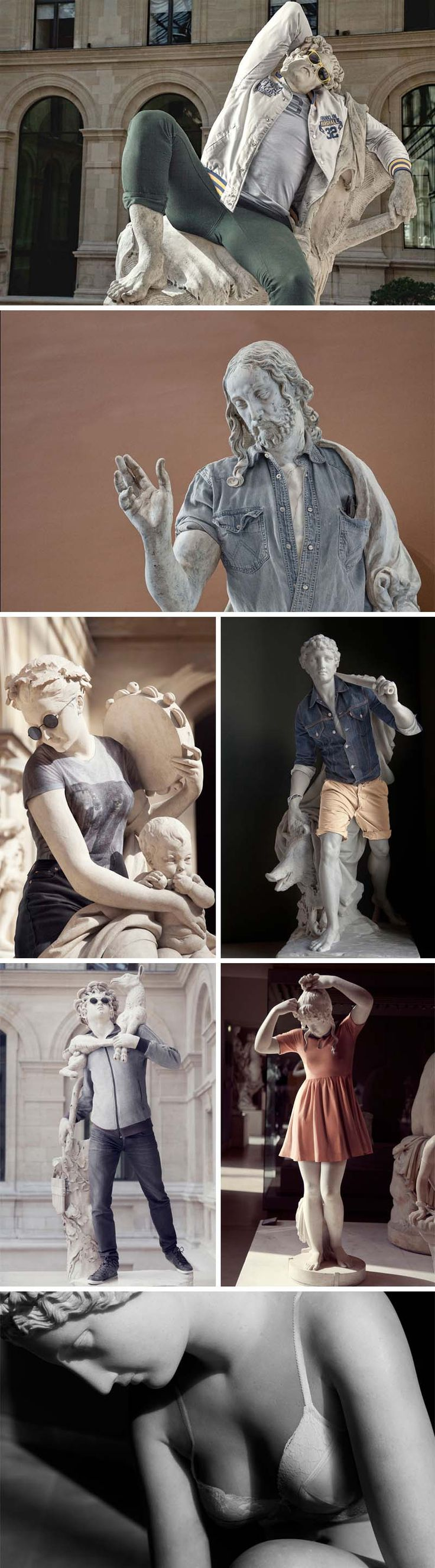 Street Stone Series by Leo Caillard (photographer) & Alexis Persani (Photoshop manipulation). Classical statues from the Louvre dressed up; stone hipsters.They really did a pretty good job.