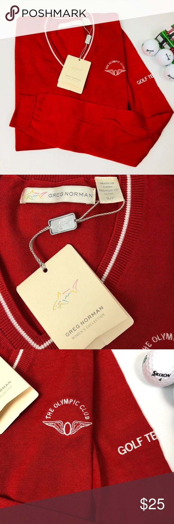 """GREG NORMAN RED SWEATER THE OLYMPIC CLUB GOLF TEAM NWT GREG NORMAN RED SWEATER THE OLYMPIC CLUB GOLF TEAM. Size S/P. 100% Mercerized ALL MEASUREMENTS ARE APPROXIMATELY AND LAYING FLAT: 🔸LENGTH: 23.5"""" 🔸PIT TO PIT: 17.5"""" 🔸WAISTBAND: 13.5"""" 🔸SLEEVE: 24.5"""" FEEL FREE TO ASK QUESTIONS  I DO NOT TRADE. GREG NORMAN WOMEN'S COLLECTION Sweaters V-Necks"""