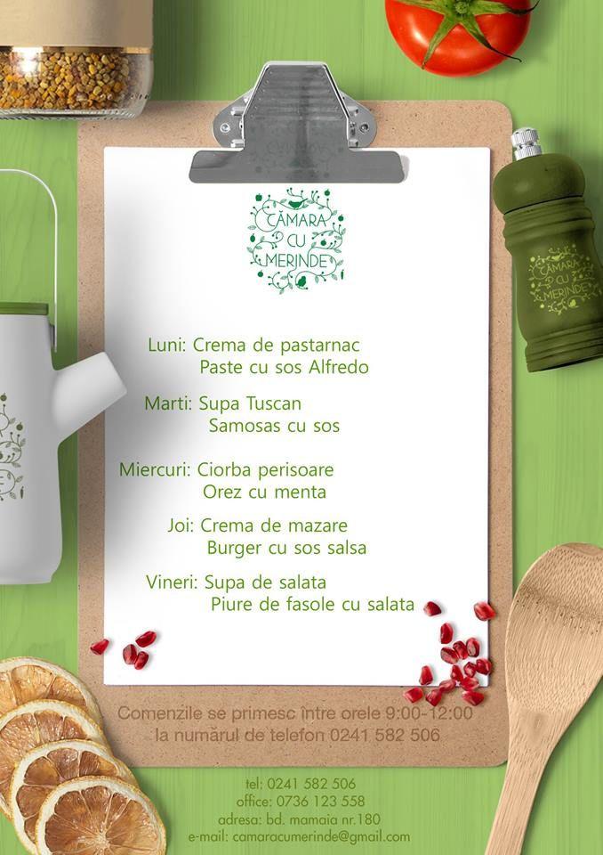 Meniul acestei saptamani #deliery #takeaway #food 0241582506 sau http://www.camaracumerinde.ro/meniu-raw/