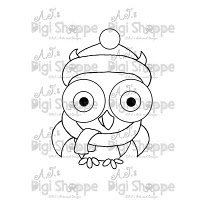 $3.00 Christmas Owl Digital Stamp from A.J.'s Digi Shoppe™