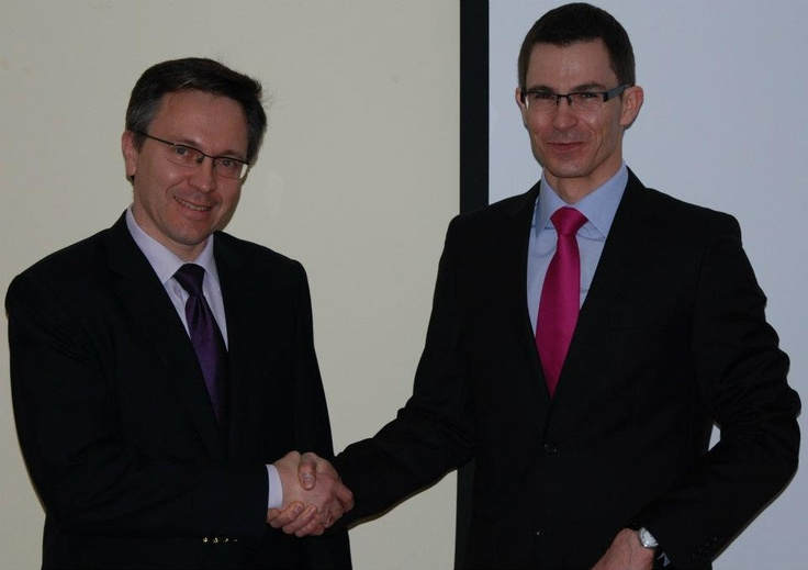 Prof. dr hab. Krzysztof Rybiński oraz Dyrektor Mariusz Łodyga