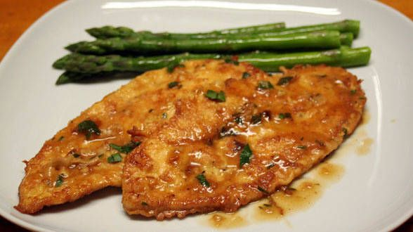 Chicken Francese.  Rachel Ray...I tried this and it was very good.  My husband LOVED it!