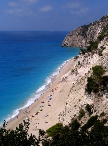 The long beach of Egremni in Lefkada island