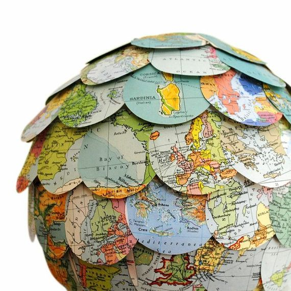 Super cute. Thinking for a child's room or library. The World Trip Lamp Shade Vintage Map by NaturallyHeartfelt, £59.50