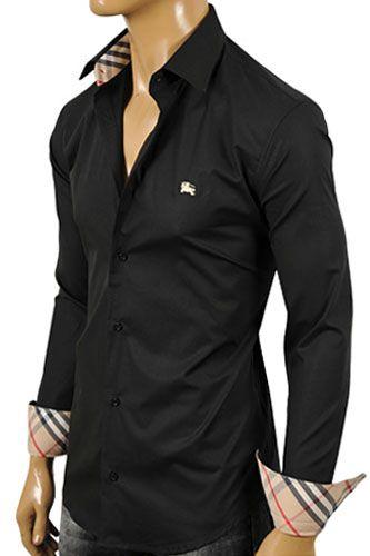 BURBERRY Men s Button Up Dress Shirt In Black  134  45eb51d8788