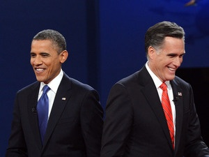 #29 Oct.5, 2012-Romney,Obama Far Apart On Closing Budget Gap    President Obama and Republican presidential candidate Mitt Romney finish their debate at the University of Denver on Wednesday.