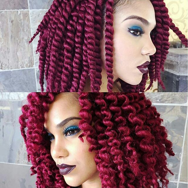"""Cool crochet twist out...this is the COLOR I'm trying For. Its burgandy now, so hopefully the next time it's dyed """"FIRE RED"""" this will be my results!!!! 3rd times a charm RIGHT LOL...We will see  -Khalida"""