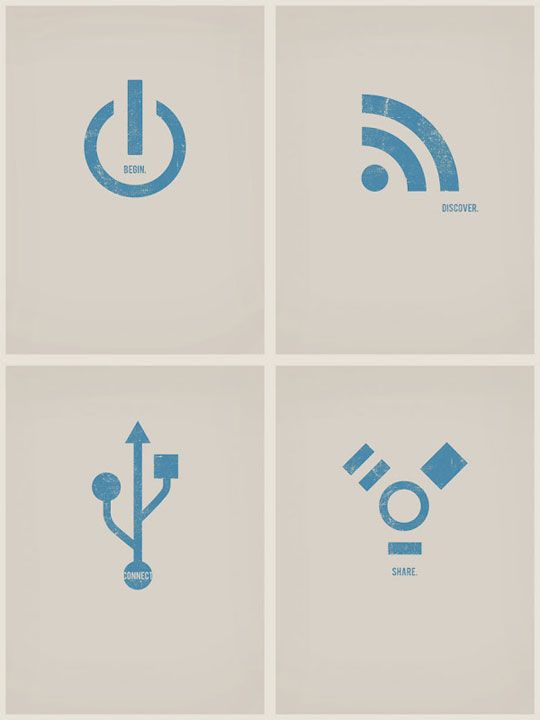 Computer icon poster prints by artist Steve Thomas. Also love his series of retro-futuristic space travel posters...