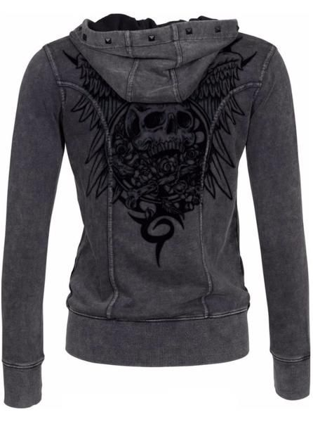 """Buy the Women's """"Vintage Crossbones"""" Zip Up Hoodie by Lethal Angel (Grey) at Inked Shop. We've got coupon codes every day!"""