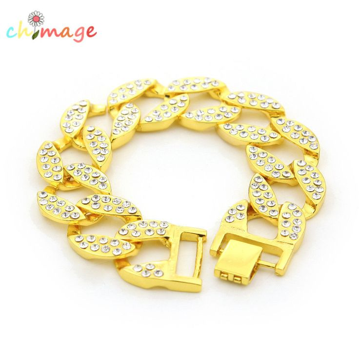 Hip Hop Full Rhinestone Cuban Men Large Charm Bracelet Rock Fashion Jewelry