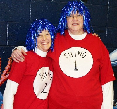 Dr. Seuss activities: Thing 1 and Thing 2 T-shirts.  Easy to do, and so cute for a Seuss celebration.