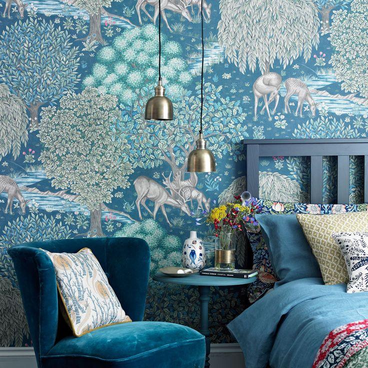 34 best blueness images on pinterest dinner for Statement wallpaper living room