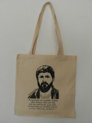 Bolsa de tela pintada a mano Andrés Solar Mónica Jiménez Algodón Orgánico y comercio justo
