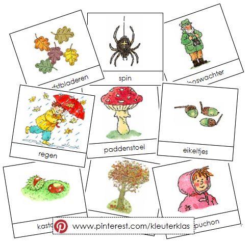 Activiteiten met woordkaarten bij het thema 'herfst' (tekeningen van Dagmar Stam)