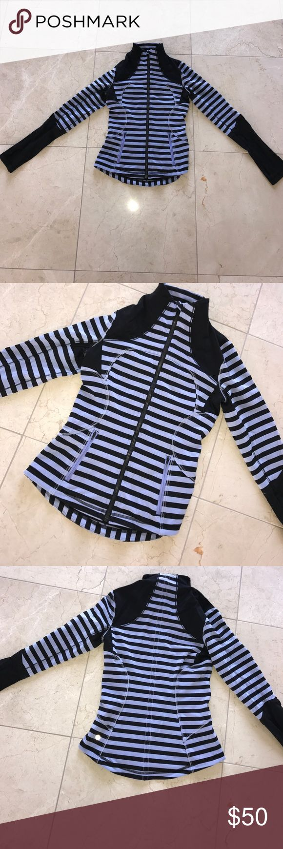 Lululemon Stripe Blue and Black Zip Up Size 4 Worn once Lululemon striped zip up! Size 4- perfect condition! Only looking to sell right now lululemon athletica Tops Tees - Long Sleeve